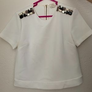 Kate Spade Jeweled Shoulder Top